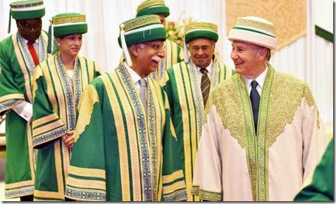 Mawlana Hazar Imam and AKU President Firoz Rasul lead the procession out of the convocation hall, followed by AKU Trustees Princess Zahra and Yusuf Keshavjee.