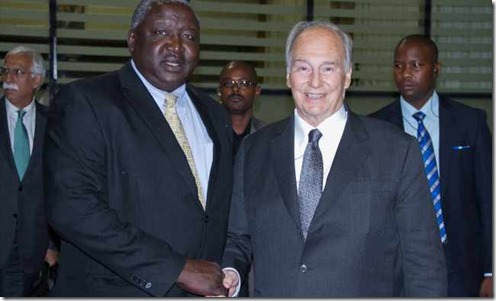 Mawlana Hazar Imam is received by Uganda's acting Minister of Foreign Affairs, Hon Oryem Okello. MOFA -Fahad Mugga