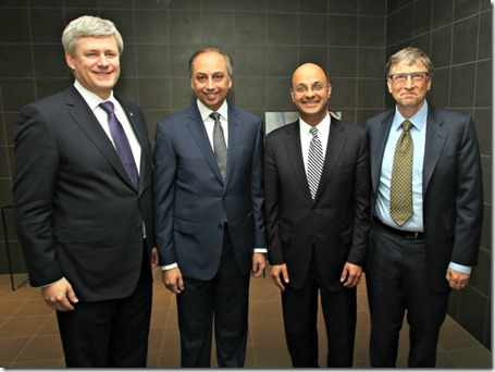 Before they took to the stage, Prime Minister Stephen Harper (left) and Bill Gates (right) met with the Aga Khan Development Network's resident representative in Canada, Dr. Mahmoud Eboo
