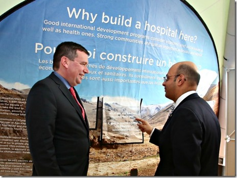Minister of International Development Christian Paradis (left) chats with Chief Executive Officer of Aga Khan Foundation Canada, Khalil Z. Shariff