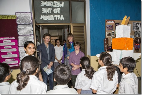 Junior School students welcome Prince Aly Muhammad, Sara and Iliyan to their art classroom. Nazim Lokhandwala