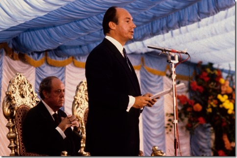 Mawlana Hazar Imam presided over the inauguration of the Ismaili Centre site at Cromwell Road, while Lord Soames performed the ceremony of foundation. Julian Calder