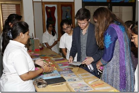 Prince Aly Muhammad and Sara admire the artwork of the Senior School students at the Aga Khan Academy, Hyderabad. Nazim Lokhandwala