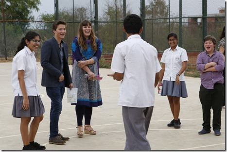 rince Aly Muhammad, Sara, Iliyan and students share a few laughs on the basketball court of the Aga Khan Academy, Hyderabad. Nazim Lokhandwala