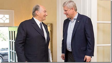 PM Harper, Aga Khan discuss threat posed by violent extremists