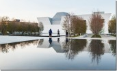 Surrounded by serviceberry trees and soft gravel, the reflective pools are mirrors that draw the Ismaili Centre and the Aga Khan Museum into the formal garden.