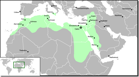 Egypt became the center of the Fatimid empire that included at its peak North Africa, Sicily, Palestine, Lebanon, Syria, the Red Sea coast of Africa,