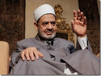 Egyptian grand Imam of al-Azhar, Sheikh Ahmed el-Tayeb gives an interview to Agence France Presse