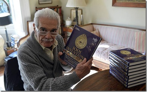 Omar Sharif with 1001 Inventions Books