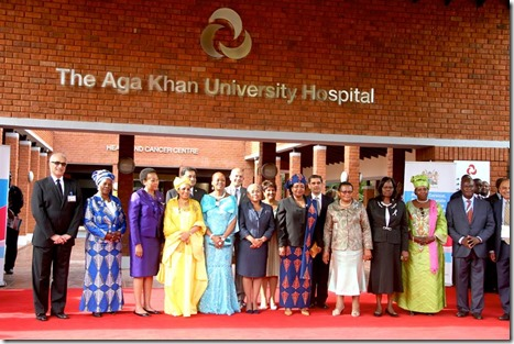 The First Lady touring the Aga Khan University Hospital in Nairobi