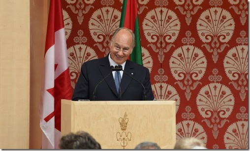 """Yes! We are a community that welcomes the smile,"" Mawlana Hazar Imam tells the gathering at the opening of the Ismaili Centre,"