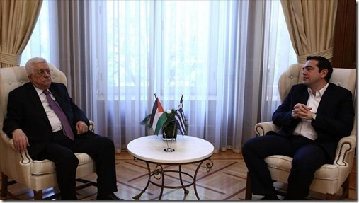 Greek Prime Minister Alexis Tsipras with visiting Palestinian President Mahmoud Abbas