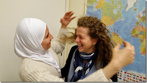 Hend from Syria and the German helper Heike have become friends
