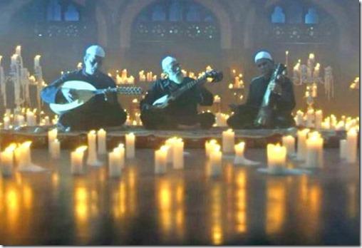 Muslim sufi and gazal musicians playing Christmas carols