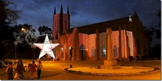 St. John Cathedral Church illuminated with lights ahead of Christmas celebrations in Peshawar