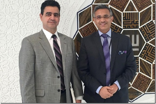 Consul General Juan Alsace and Ismaili Council for Canada Executive Officer Mohamed Dhanani at the Ismaili Centre Toronto.