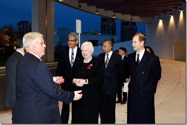 His Royal Highness Prince Edward and the Honourable Elizabeth Dowdeswell enter the Ismaili Centre, Toronto for the Duke of Edinburgh's International Gold Award Ceremony