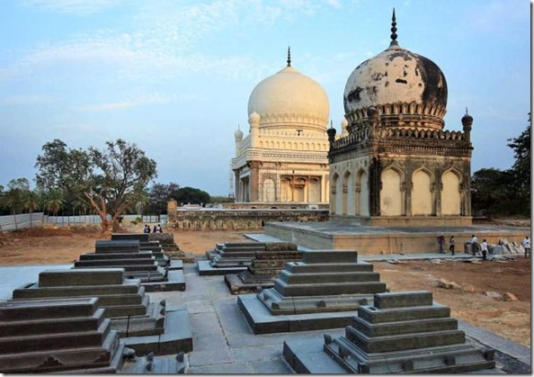The restoration effort helmed by Aga Khan Trust for Culture is clearly visible on the two tombs in Qutub Shahi tombs complex