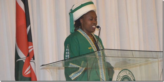 Bernadatte Mwikali Ngumi delivers the valedictory speech
