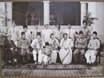 (A 1930s photo of the Jairazbhoy family outside Gulshan Mahal, courtesy Amy Catlin-Jairazbhoy. Khurshid sits in a white sari on the right.)