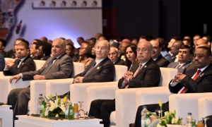 Mawlana Hazar Imam at the plenary session of the Africa 2016 Forum, with Egyptian Prime Minister Sherif Ismail seated to his left