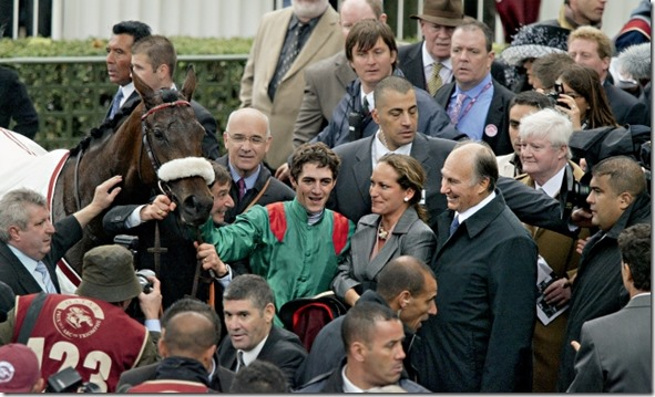 Mawlana Hazar Imam, Princess Zahra and jockey Christophe Soumillion with Zarkava after the filly won the Prix de l'Arc de Triomphe in 2008. APRH