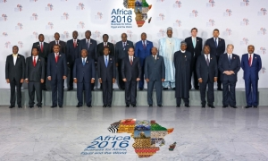 Mawlana Hazar Imam together with heads of state at the Africa 2016 Forum in Sharm el Sheikh, Egypt