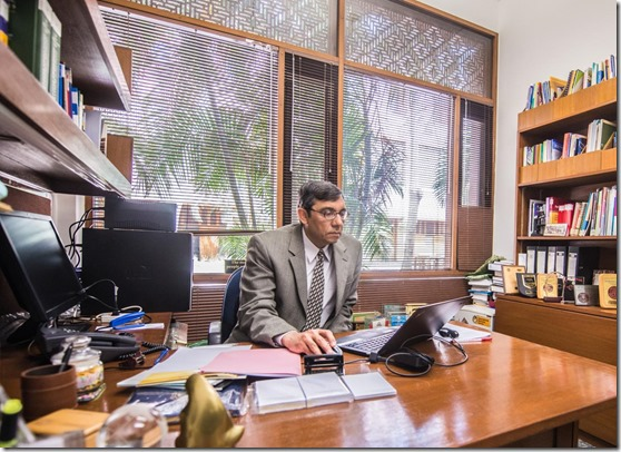 Prof Bhutta in his office