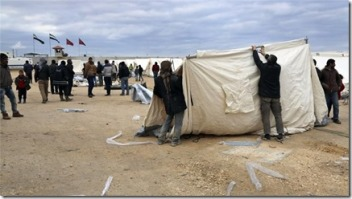 Temporary refugee camps in northern Syria have been set up for those escaping the offensive in Aleppo
