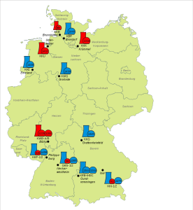 Eight German nuclear power reactors