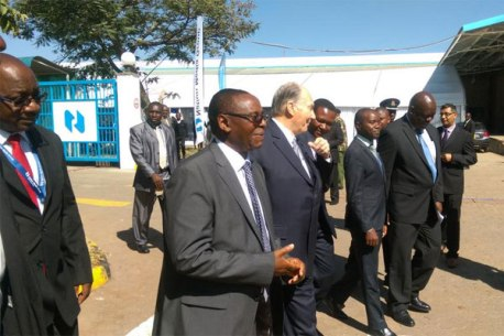 His Highness The Aga Khan has arrived at the printing plant, Mombasa Road