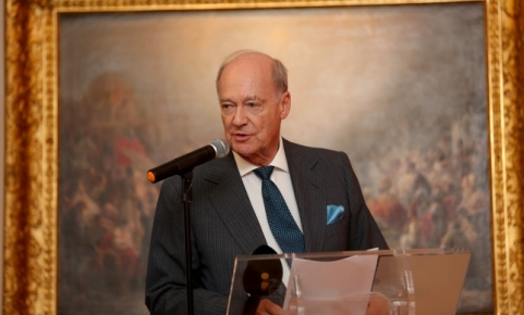 Prince Amyn delivering his remarks at the National Museum of Ancient Art in Lisbon, Portugal