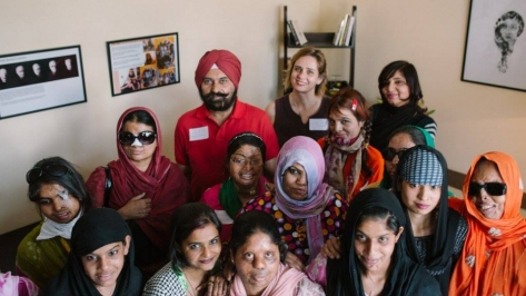 Acid attack survivors and staff at the Make Love Not Scars Rehabilitation Center grand opening Credit-Avirat Sundra