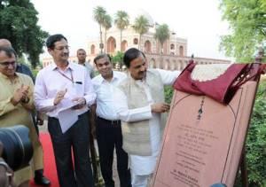 Dr. Mahesh Sharma Unveils Gold Finial at Humayun Tomb