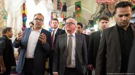 German FM Minister Steinmeier visiting bazaar in Tehran