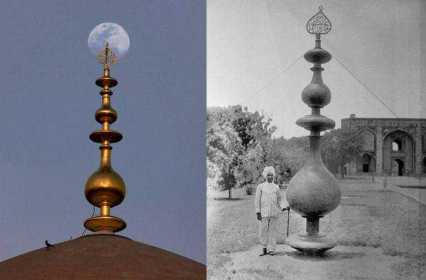 A combo picture shows restored 18-ft-long finial atop the Humayun Tomb in New Delh