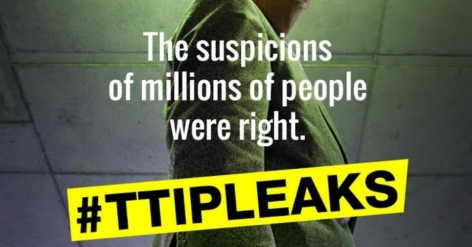 WikiLeaks had previously announced a €100,000 -bounty- for the full TTIP text. Image- Greenpeace