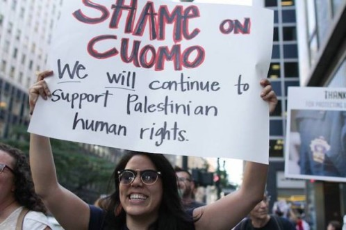 A protester at a demonstration against New York Gov. Cuomo's anti-BDS executive order in New York City on June 9.