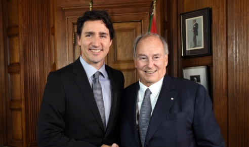 Canadian Prime Minister Justin Trudeau and His Highness the Aga Khan at the Parliament Hill in Ottawa