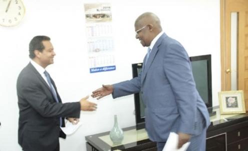 Hon. Kutesa shakes with Mr. Amin Mawji, the Diplomatic Representative designate of the Aga Khan Development Network to Uganda