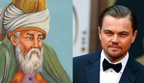 Leonardo DiCaprio (R), seen arriving at the 86th Academy Awards in Hollywood, California, on March 2, 2014, will feature as Persian poet and scholar Jalaluddin Muhammad Balkhi