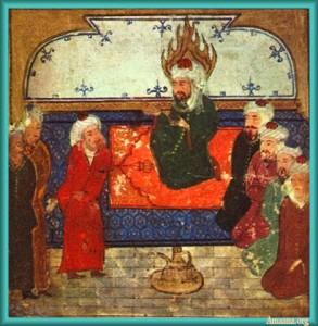 Prophet-Muhammad-on-his-prayer-rug-Persian-small-293x300