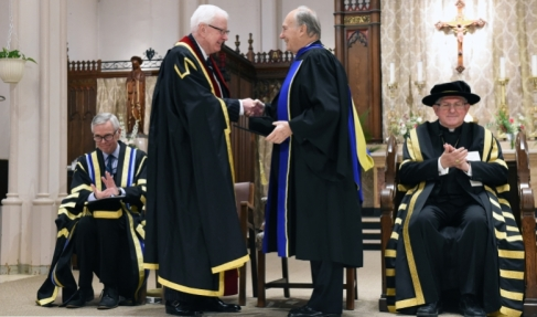 Richard Alway, Praeses of the Pontifical Institute of Mediaeval Studies congratulates His Highness the Aga Khan upon the conferring the honorary degree