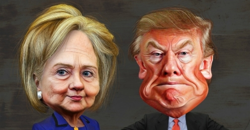 Caricatures of Hillary Clinton and Donald Trump. -Photo, DonkeyHotey- flickr,cc