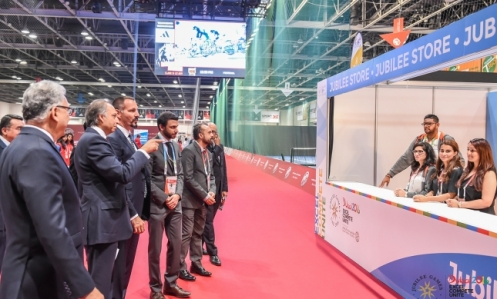 Prince Rahim accompanied by Jamati leaders view the Jubilee Store at Dubai Sports World at the 2016 Jubilee Games