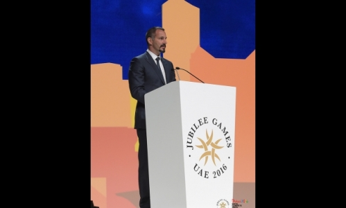 Prince Rahim speaking at the Opening Ceremony of the 2016 Jubilee Games in Dubai.
