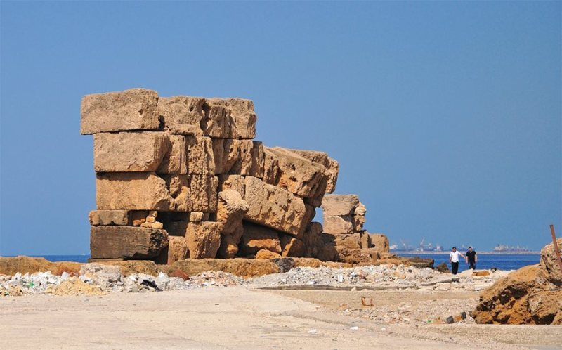 Remnants of ramparts that once circled all but Arwad's harbor side, these few weathered blocks likely date back at least as far as the Seleucid era that followed Alexander the Great.