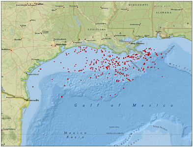 Gulf of Mexico fracking locations. See interactive map. Map courtesy Center for Biological Diversity.