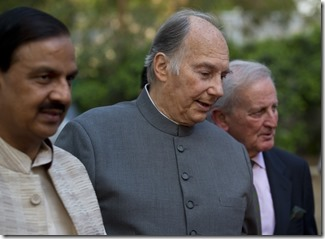 Indian tourism minister, Mahesh Sharma (left) with the Aga Khan, (center) and Luis Monreal, general manager of the Aga Khan Trust for Culture.