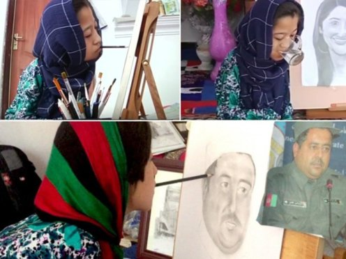 Paralyzed Afghan artist, Robaba Mohammadi
